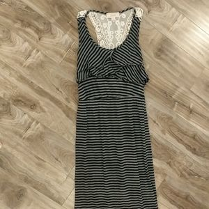 Striped Maxi Dress with Lace Crochet Back